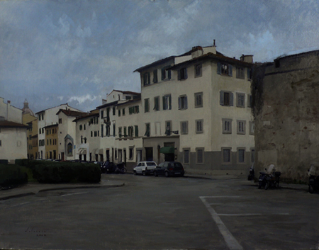 Piazza Tasso in Feburary. Oil on linen, 2008