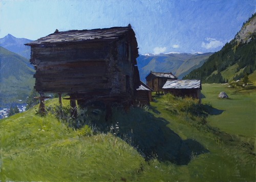 Edelweiss Huts, Zermatt. 70 x 100 cm, oil on linen, 2008