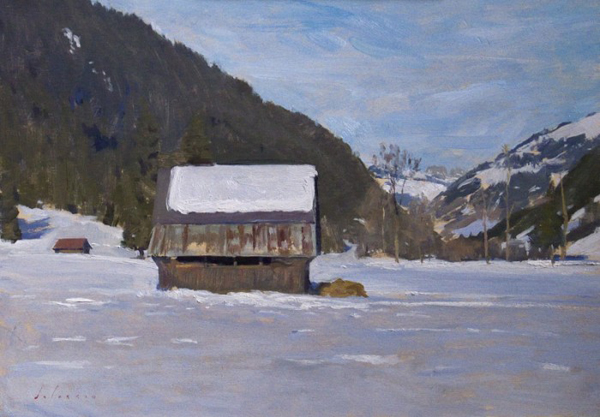 Barn at Lauenen. 25 x 35 cm, oil on board.