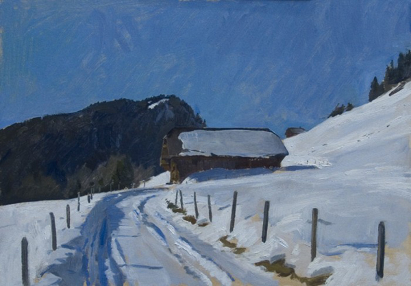 Farm above Rougemont. 25 x 35 cm, oil on board.