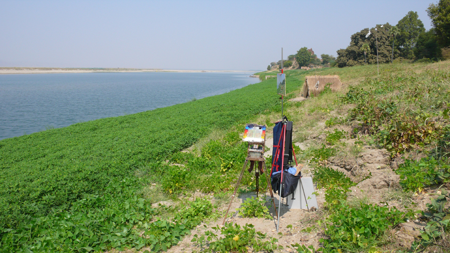 My studio on the bank of the Irrawaddy River.