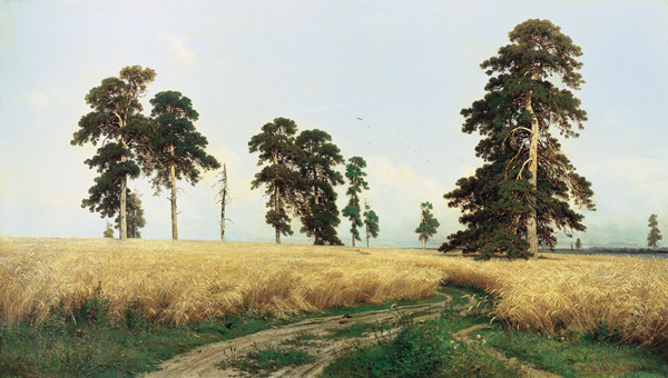 A Rye Field by Ivan Shishkin. Oil on canvas, 107 x 187 cm, 1878