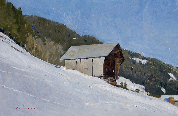 Plein air Alpine landscape painting