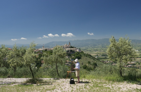 Plein air landscape painting near Trevi, Umbria.