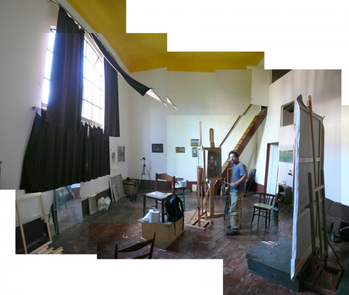 Ben Fenske in his studio in Piazza Donatello.