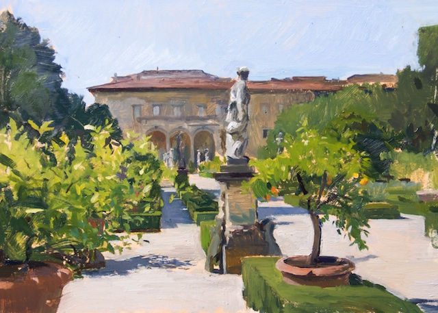 Corsini Garden sketch. Oil on board, 25 x 35 cm.