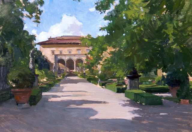 Corsini Garden sketch. Oil on board, 25 x 35 cm