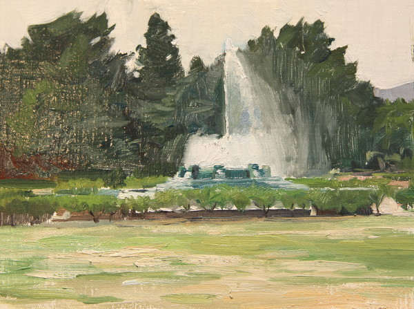 Fountain at Griffith Park. 6 x 8 in., oil on panel.