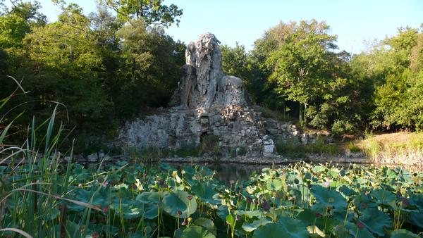 The Colosso dell'Appennino by Giambologna in the Park at Villa Demidoff.