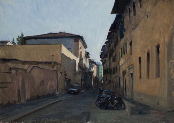 Via della Chiesa. 10 x 14 in. oil on panel