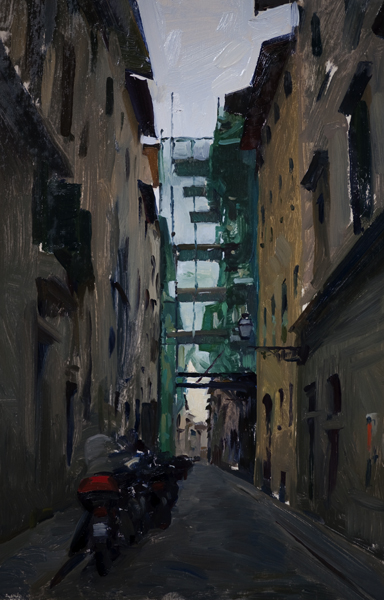 Scaffolding on Borgo Tegolaio. 12 x 8 in. Oil on board.