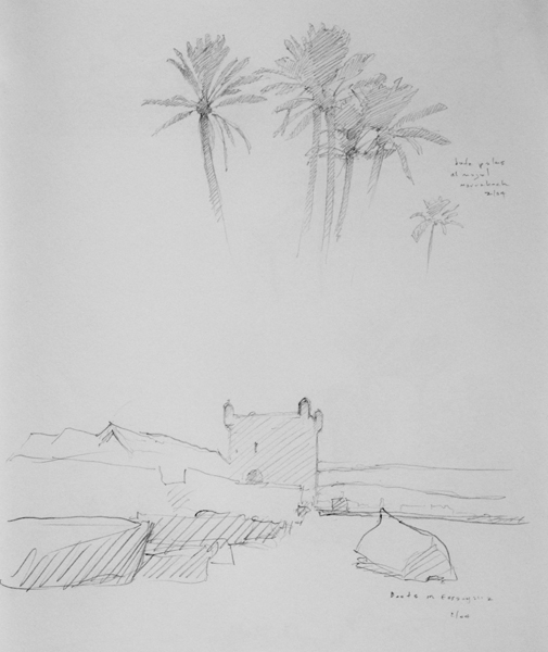 Landscape drawing of Morocco