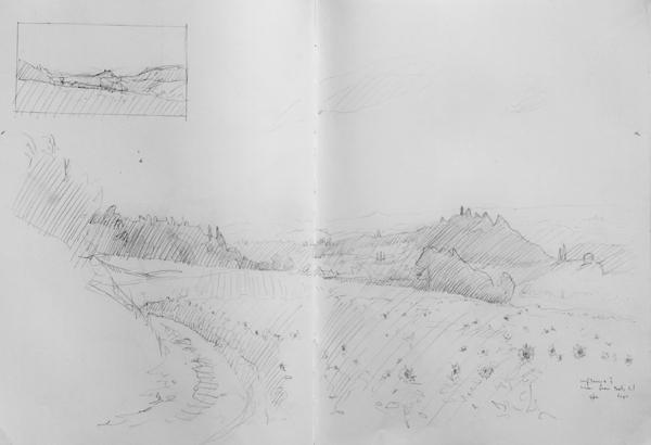 Landscape drawing of Sosta del Papa, Chianti, Tuscany