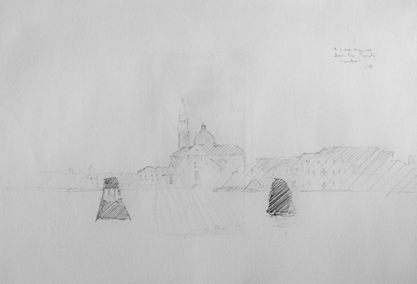 Landcape drawing of San Gorgio Maggiore, Venice, Italy