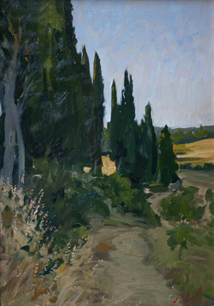 cypresses 420x600 Castello di Reschio Paintings