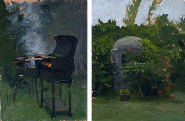 well and barbeque Landscape Painting in Tuscany