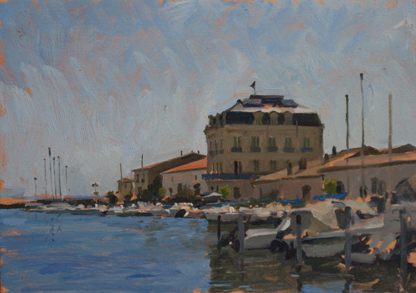 Oil painting of the port at Marseillan.