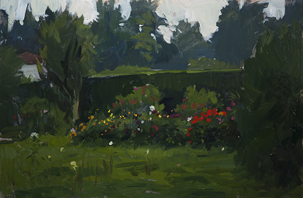 Landscape sketch in oil of a cutting garden near Stresa, Lago Maggiore, Italy