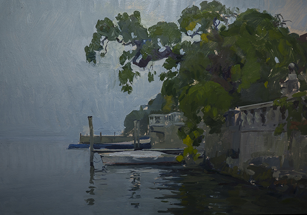 Evening Fog, Lago d'Orta. 25 x 35 cm, oil on panel.