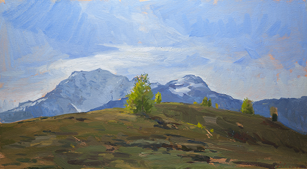 Landscape painting of Monte Rosa from the Simplon Pass