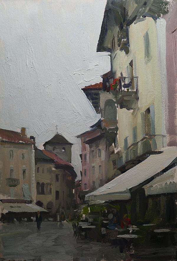 Landscape painting of Domodossola, Italy