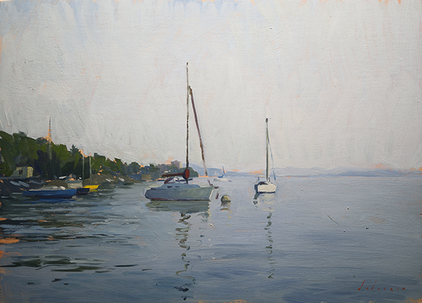 Evening at Verbania. 24 x 35 cm, oil on panel.