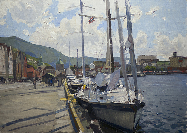 Landscape painting of a boat in Bergen, Norway.