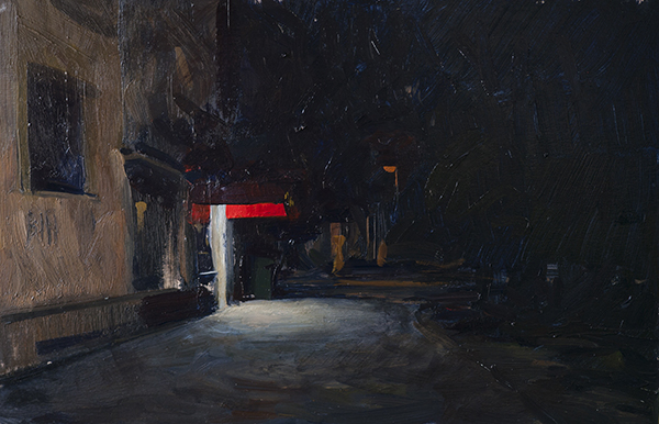 The Bar at Zvijezda (2011). 20 x 30 cm, oil on panel.