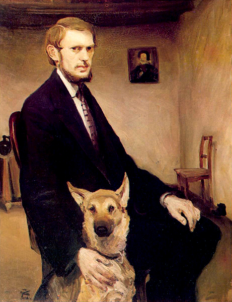 Self-portrait with Dog. 1910