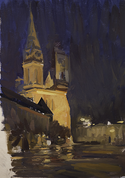 Cathedral Nocturne #2. 30 x 20, oil on panel (unfinished).