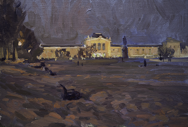 The Central Train Station at Night, Zagreb. 25 x 35 cm, oil on panel.