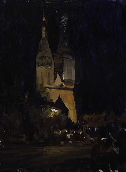 Cathedral Nocturne #1. 35 x 25 cm, oil on panel.