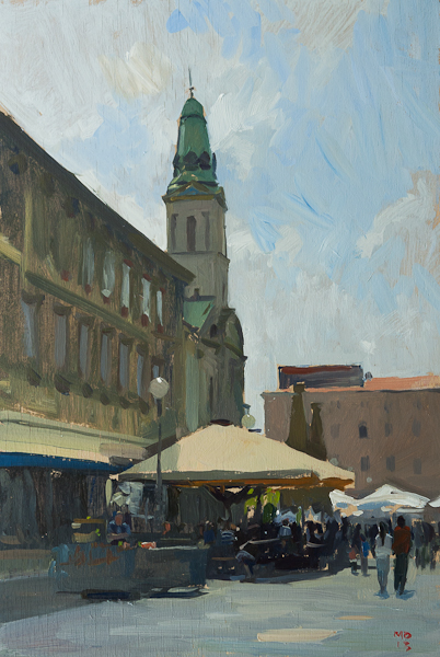 Painting of the Saturday morning Špica in Zagreb