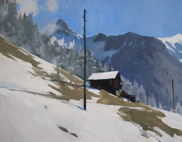 Alpine landscape painting from Switzerland.