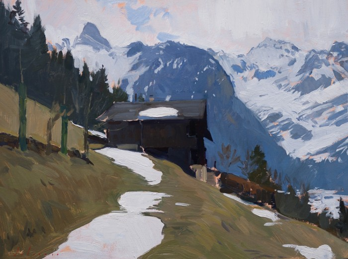 Plein air landscape from Les Plans, in the Swiss Alps.