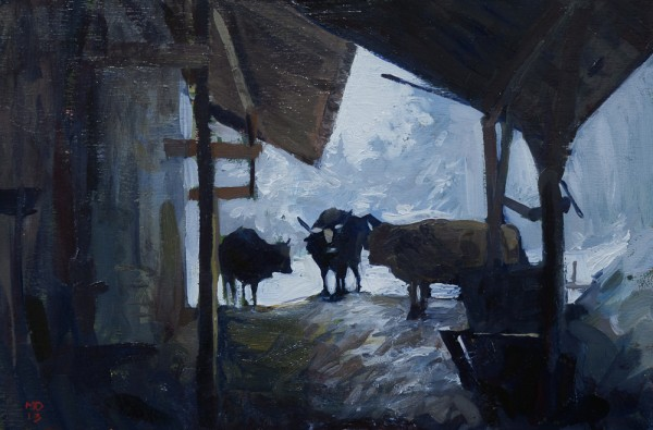 Cows in the Snow 600x395 Plein Air Alpine Sketches