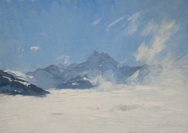 Plein air landscape painting of the Dents du Midi