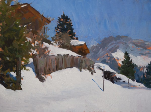 Gryon Chalets 600x448 Plein Air Alpine Sketches