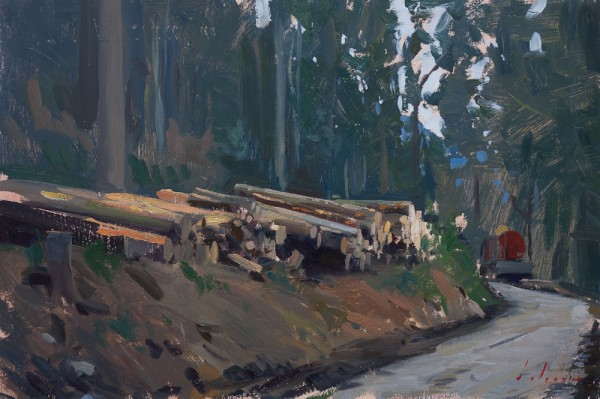 Plein air landscape of a logging road in Switzerland.