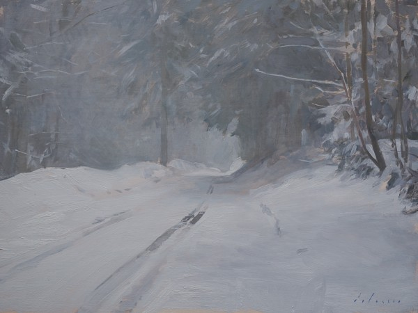 Painting of a road in the snow.
