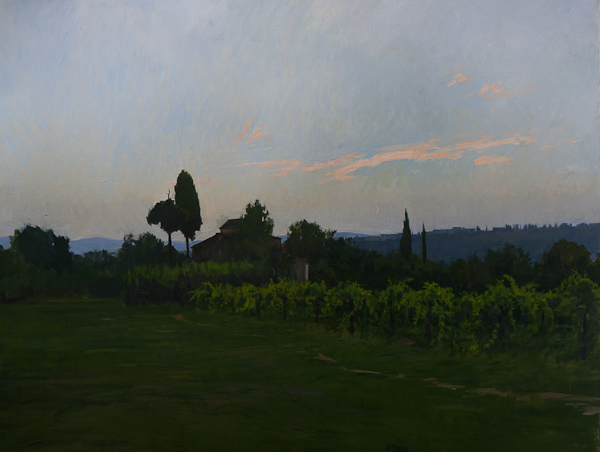 Painting of sunset at a farmhouse in Chianti