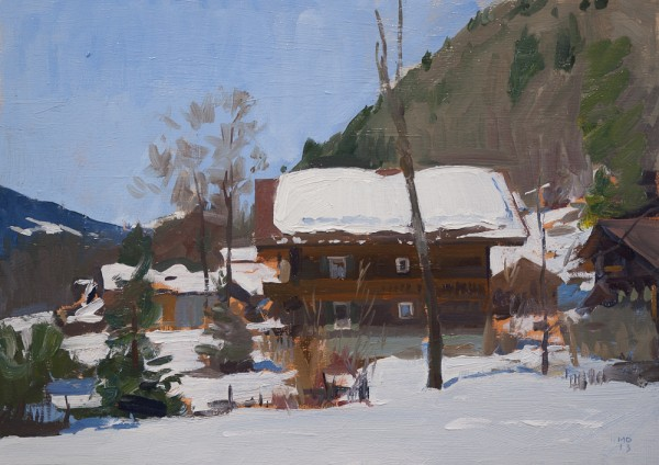 Plein air painting of a chalet in Les Plans, Switzerland.