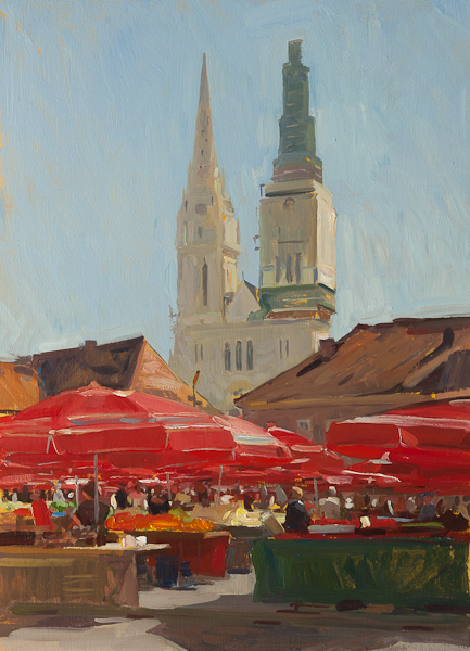 Plein air painting of Dolac Market, Zagreb