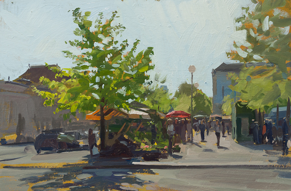 Plein air painting of the flower market in front of the Zagreb train station.