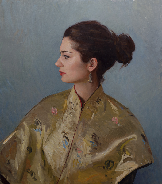 Portrait in oils of my wife in a gold kimono.