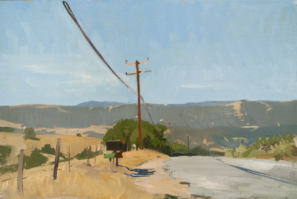 Plein air sketch of Corral de Cielo Road.