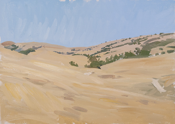 Plein air painting of the Pastures of Heaven off Corral de Tierra Road.
