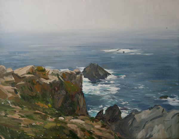 Plein air painting of cliffs at Point Lobos.