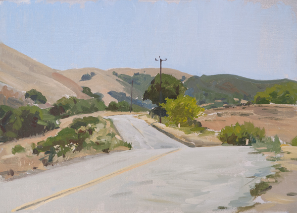 Plein air painting of San Benancio Road.