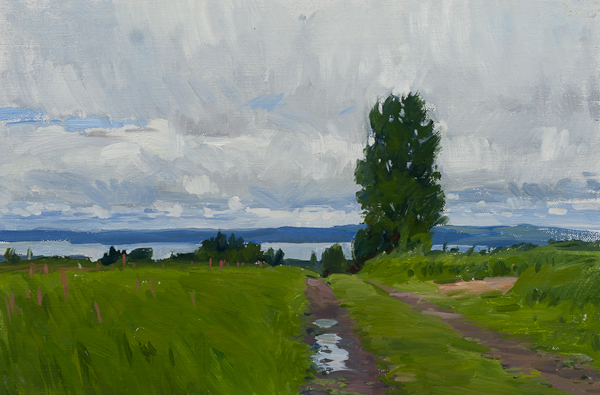 Plein air landscape painting of a field above Lake Siljan, Dalarna, Sweden.